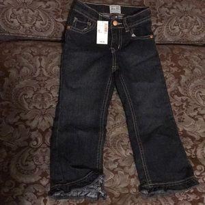 Dark denim ruffle jeans